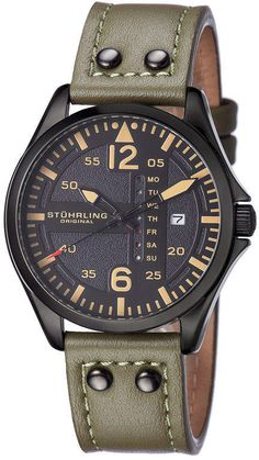 Stuhrling Original Mens Green Strap Watch-Sp15163