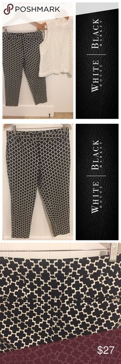 White House Black Market printed crop pants 8 Size 8. Worn once, in excellent condition. See my closet for more great deals on designer clothes, shoes, and accessories. 15% off a bundle of 3 or more items. White House Black Market Pants Ankle & Cropped