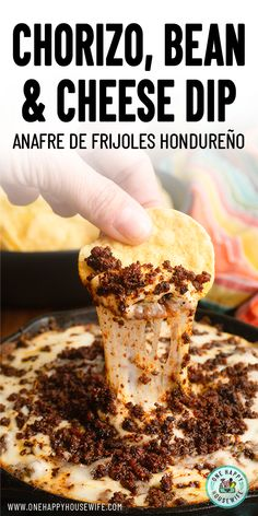 This Honduran Anafre is a type of bean fondue traditionally served as an appetizer in Honduras and enjoyed with crispy, fried corn tortilla chips. This Anafre Hondureño or Chorizo, Bean & Cheese Dip can be made at home with my easy recipe. Chorizo Recipes, Dip Recipes, Mexican Food Recipes, Cooking Recipes, Chorizo Bean Dip Recipe, Yummy Appetizers, Appetizer Recipes, Appetizer Ideas, Nachos