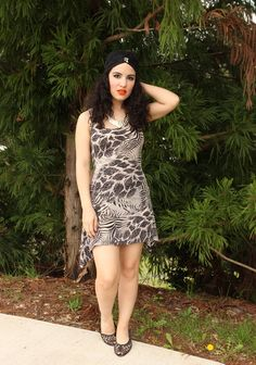 Libertad Green: Grey Animal Print Dress
