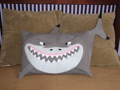 Spruce up any room with an adorable animal pillow sham made from soft fleece. Button closure on the back. Machine washable and tumble dry. Minion Pillow, Shark Pillow, Pillow Crafts, Fabric Crafts, Cute Pillows, Sewing Pillows, How To Make Pillows, Animal Pillows, Cushion Covers