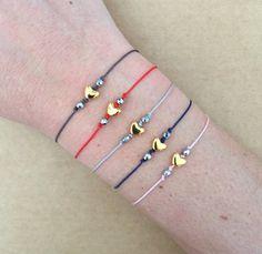 Tiny Gold/Silver Plated Heart Bead String Bracelet  by IzouBijoux