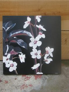 White Blossoms on Black Background acrylic paint by EmmaBethAnne, $40.00