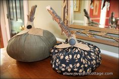 These cute fall pumpkins made out of fabric I had around the house cost about 25 cents.   Instructions are at http://www.rivercliffcottage.com/2012/09/25/its-punkin-time/