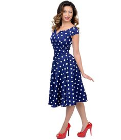 Hell Bunny 1950s Style Navy Blue & White Polka Dot Antoinette Swing Dress