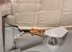 1eb387a5e1bd Hermes Beton White GHW Matte Crocodile Kelly 32 Handbag