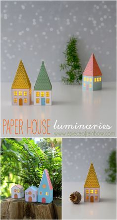 DIY: Paper House Luminaries - DIY: Paper House Luminaries FREE printable templates to make these enchanting Paper House Luminaries! – A Piece Of Rainbow Diy Paper, Paper Art, Paper Crafts, Origami Paper, Paper Toys, Christmas Home, Christmas Crafts, Xmas, Christmas Printables
