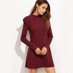 Burgundy Long Sleeve With Frill Detail Dress  $26.00 Free Shipping on all orders www.ShopDulceVida.com . #WorkWear #Dress #Outfit #simpleoutfits #casual #skirt #blouse #romper #jumpsuit #fashion #style #trends #pretty #limited #summer