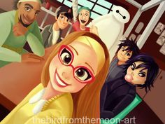 I have a headcannon. What if one day the gang goes somewhere and Honey Lemon is taking photos randomly throughout the day. Then when they get home they start scrolling through the photos and in every single photo of Hiro, there is a small ball of light right behind him. And in the last photo, behind everyone is a six foot figure with a green coat and grey cardigan just smiling at the camera? :*<