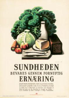 Sundheden plakat - Køb online hos Permild & Rosengreen Medical Art, Vintage Posters, Denmark, Graphic Art, Scandinavian, Retro Vintage, Pin Up, Illustration Art, Art Prints