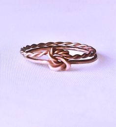 Double knot ring, double infinity knot, rose gold, rings
