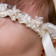 Leila Collection Christening Headband for Baby Girls | Baptism Clothes – Christeninggowns.com Newborn Girl Headbands, Newborn Outfits, Newborn Clothing, Christening Headband, Baby Christening, Baptism Outfit, Baptism Clothes, Baby Girl Baptism, Baby Girls