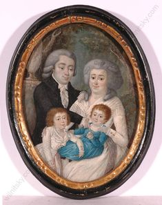 """""""Charming Portrait of a German Family"""", Small Oil Painting, 18th Century 
