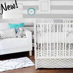 Cute grey nursery bedding...grey is very unisex and can add your own pastel accessories for a girl or boy