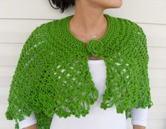 Hand Knitted Shawl Shamrock Capelet Poncho by SmilingKnitting, $49.90