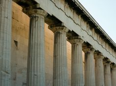 Temple of Hephaestus -   The backlit northern colonnade