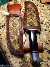 Rt Hand Knife Sheath for Buck119   Color Dark Brown Rattlesnake  Inlay*NO KNIFE*