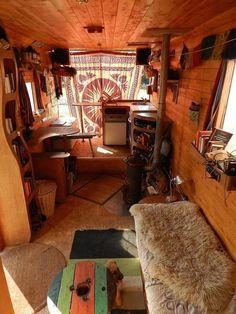 56 Warm Rv Interior Winter Decor For Enjoy Your Trip - Van Life Living In Car, Tiny Living, Van Interior, Interior Design, Interior Ideas, Bus House, Tiny House, House Rooms, Van Dwelling