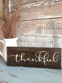 Items similar to Farmhouse home decor - Thankful sign - Fall sign - handpainted on barn wood - Blessed on Etsy : Fall decoration Rustic Thankful sign Fall sign Fall Wood Signs, Diy Wood Signs, Fall Signs, Fall Pallet Signs, Holiday Signs, Rustic Signs, Pallet Crafts, Wooden Crafts, Pallet Art