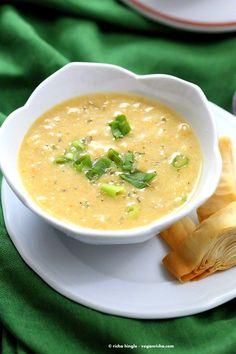 Vegan Chipotle Corn Chowder. Sweet and Spicy Corn Chowder with a garnish of pimientos and parsley. | VeganRicha.com #vegan #glutenfree #recipe