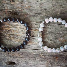 The white Buddha bracelet is made of howlite for inner peace and better sleep! The black skull bracelet is for protection when he's on his #speedbike ! #fastandfurious #forhim #healing #mantrahj #mantra #innerpower #innerpeace #sweetdreams #calming #protection #yoga #yogi #gemstonejewelry #crystals #mala #howlite #swarovski #shungitewarrior #shungite #mensfashion #holisticjewelry #buddha #skulls