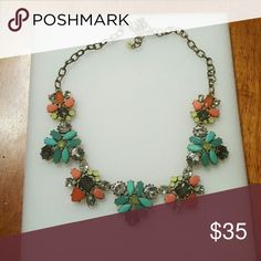 Stella and Dot gold elodie statement necklace Beautiful, retired gold Elodie necklace.  Gently used,  excellent condition.  Gorgeous colors of oranges, teals, yellow and CZ Stella&Dot  Jewelry Necklaces