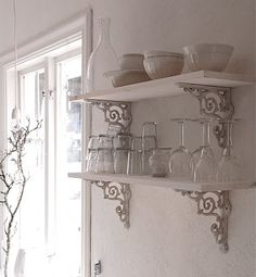 Ticking And Toile Wooden Shelves With Wrought Iron Brackets I Saw These At