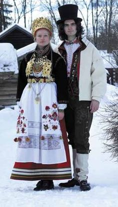 These traditional outfits are wonderfully colored and textured. Folk Costume, Costumes, Norwegian Clothing, Scandinavian Wedding, Norwegian Wedding, Ethnic Fashion, Folk Fashion, Folk Clothing, Royal Dresses