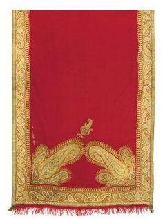 Kashmir Shawl: 1818-1820, pashmina, gilt embroidered borders and corner paisley embellishments.