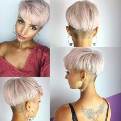 Blue hair, brown balayage, or pale pinks? Latest Short Hairstyles, Pixie Hairstyles, Pixie Haircut, Hairstyles 2018, Short Hair Cuts, Short Hair Styles, Androgynous Haircut, Pelo Pixie, Homecoming Hairstyles