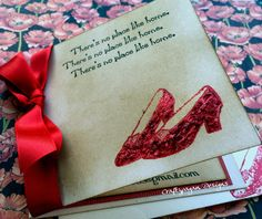 50 Wizard of Oz Invitations-Vintage Style with Glitter and Envelope 4 x 4 Size by craftypagan on Etsy