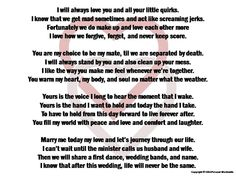 Funny Wedding Vows Digital Print Marriage Poem Download