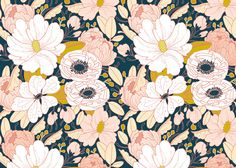 Floral Dark Wrapping Paper by PaperRavenCo on Etsy