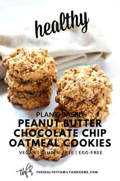 These plant-based Gluten-Free Vegan Peanut Butter Chocolate Chip Oatmeal Cookies are made with only 6 clean, real food ingredients and they Vegan Oatmeal Cookies, Peanut Butter Oatmeal, Oatmeal Chocolate Chip Cookies, Healthy Cookies, Flourless Peanut Butter Cookies, Chocolate Chips, Chocolate Cookie Recipes, Easy Cookie Recipes, Good Healthy Recipes