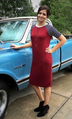 Burgundy and Stripe Midi Dress