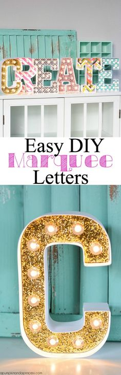 The best DIY projects & DIY ideas and tutorials: sewing, paper craft, DIY. Diy Crafts Ideas DIY Marquee Letters by Crystal A Pumpkin & A Princess -Read Diy Simple, Easy Diy, Cute Crafts, Diy And Crafts, Diy Marquee Letters, Marquee Lights, Diy Y Manualidades, Ideias Diy, Cool Diy