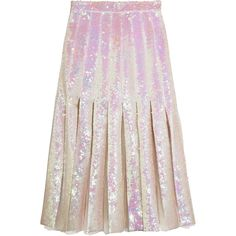 Christopher Kane Pleated sequined tulle and silk-satin midi skirt (222.960 RUB) ❤ liked on Polyvore featuring skirts, christopher kane, holograph, pleated midi skirt, high-low skirts, iridescent sequin skirt, off white skirt and iridescent skirt