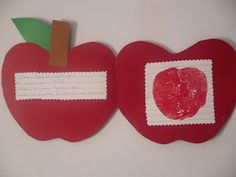 Tweet      Ορίστε μια ωραία πρόταση για κάρτα για την Παγκόσμια Ημέρα Διατροφής! Ένα μήλο!           Μέσα στο μήλο κολλάμε από την μία έν... Apple Theme, Kids Behavior, Fall, Autumn, How To Make