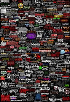 Collage of Heavy Metal band name Logos