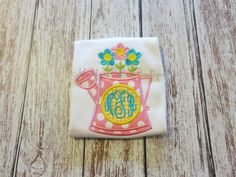Girls Monogrammed Watering Can Appliqued Shirt - Embroidered, Personalized, Monogram, Watering Can, Flowers, Spring, Summer