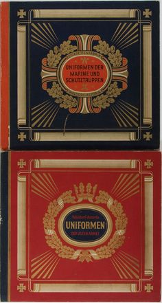 Blue and red cover design for album of 1930s Waldorf Astoria cigarette cards - Uniforms of the old army