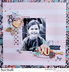 """Isn't this utterly adorable? <3 This stunning page was created by Annelie using our brand new Love Always collection and features a photo of her beautiful daughter. (Annelie says she is in """"embellishment heaven"""" with this collection and from the look of her layout I think she is right!) @scrappinswewi #cocoavanillastudio #cocoa_vanilla #scrapbook #scrapbooking #layout #LoveAlways #embellishments #papercraft #memorykeeping #newcollection"""