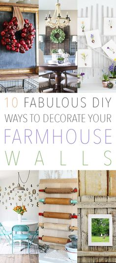 10 Fabulous DIY Ways To Decorate Your Farmhouse Walls with Imaginative Farmhouse Quick and Easy Projects! Farmhouse Artwork, Modern Farmhouse Table, Country Farmhouse Decor, Farmhouse Style Decorating, Farmhouse Chic, Rustic Decor, Cheap Home Decor, Diy Home Decor, Artwork For Home