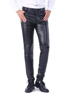 ef90cbdbfd08 Idopy Men`s Business Slim Fit Five Pockets Faux Leather Pants Jeans at  Amazon Men s
