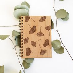 Ginkgo wood laser cut journal // ginkgo biloba botanical pattern