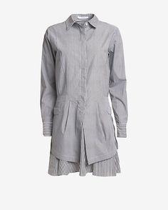 Derek Lam 10 Crosby EXCLUSIVE Striped Poplin Shirt Dress at @intermix