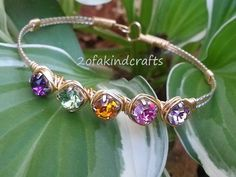 Handmade Wire Wrapped Swarovski Rhinestone Birthstone Bracelet (Stone Wrapped), silver and gold plated wire with 6mm rhinestones