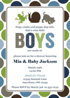 Frogs Snails and Puppy Dog Tails Baby Shower Invitation. $15.00, via Etsy.