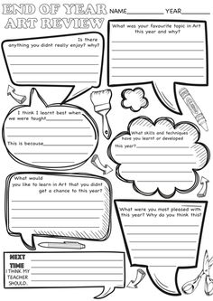 Art - End of Year Review Sheets