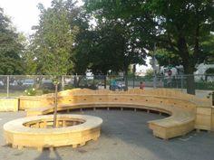 2-tier circular wooden seating
